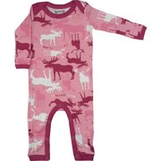 Baby Girl Coveralls - Adorable Coverall with All-over Moose Print in Pink Camo with Fuchsia Trim.  Lap Shoulders and Snap Legs.  So Cute!  Available in Sizes 3/6, 6/12 and 18 Months by Wild & Cozy