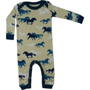 Baby Boy Coveralls - Adorable Coverall with All-over Horse Print and Blue Trim on Cream Background.  Lap Shoulders and Snap Legs.  So Cute!  Available in Sizes 3/6, 6/12  and 18 Months by Wild & Cozy