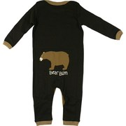 Baby Clothes - Adorable Baby Coverall in Chocolate Brown with Northern Bear  on Chest and Bum. Lap Shoulder and Snap Legs.  Available in Size 6/12 Months by Wild & Cozy