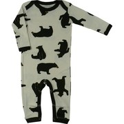 Baby Coveralls, Adorable Coverall with All-over Bear Print and Brown Trim on Cream Background.  Lap Shoulders and Snap Legs.  So Cute!  Available in Sizes 3/6 and 6/12 Months by Wild & Cozy