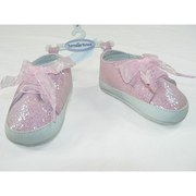 Baby Girl Shoes, Sparkly Baby Girl Sneaker in Pink Glitter with Ribbon Shoelaces and Non-Skid Soles.  Available in 0/3 Months (Size 1), 3/6 Months (Size 2), 6/9 Months (Size 3) and 12 Months (Size 4)