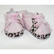 Baby Girl Shoes - Cute Baby Girl Shoe in Pink with Leopard Trim, Pink Shoelaces and Soft Non-Skid Soles.  Available in 0/3 Months (Size 1), 3/6 Months (Size 2), 6/9 Months (Size 3) and 12 Months (Size 4)