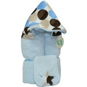 Hooded Towels - 2 Piece Generously Sized (30x52) 100% Cotton Hooded Towel with Minky Polka Dot Printed Hood on Blue Towel with Matching Washcloth.  For Infant through Age 5.  He