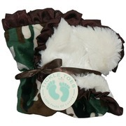 """Baby Shower Gifts, Security Blankets, a Fun and Super Soft Security Blanket (13 1/2 inches) with Camouflage Minky on One Side and Soft Minky """"Fur"""" on the Other.  Trimmed in Satin Ruffle.  Great Size to Carry Along!  by Tickle Toes"""