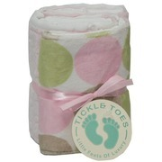 Baby Shower Gifts, Burp Cloths - Fashionable Burp Cloth Set.  These Cloths are made of 100% Birds-eye Weave Cotton on One Side and  One with Polka Dots in Minky  and One with Pink Minky on the Other Side. Very Soft! Machine Wash, Tumble Dry  by Tickle Toes