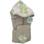 Gift Sets, Hooded Towels, a Two-Piece Generously Sized (30x52) 100% Cotton Hooded Towel with Minky Polka Dot Printed Hood on Tan Towel with Matching Washcloth.  For Infant through Age 5.  They