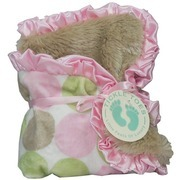 "Baby Shower Gifts, Security Blankets, a Fun and Super Soft Security Blanket (13 1/2 inches) with Pink, Green/Beige Minky on One Side and Soft Minky ""Fur"" on the Other.  Trimmed in Satin Ruffle.  Great Size to Carry Along!"