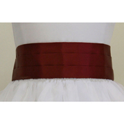 Pleated satin sash that ties into a bow in back in Champagne, Red, Cocoa, Periwinkle Blue and Black in sizes Medium (2-6) and Large (7-14) to fit your special occasion dresses. Add a splash of color to any dress!  By US Angels