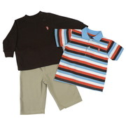 Infant Boy 3 Piece Pant Set by U.S. Polo with Waffle L/S Shirt in Chocolate Brown with Polo Emblem, Striped S/S Polo Shirt and Khaki Pants with Elastic Back and Adjustable Waist.  Classic!  Available in Sizes 12, 18 and 24 Months