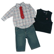 Infant Boy 3 Piece Pant Set by U.S. Polo with Red, White and Blue Plaid Shirt, Red Neck Tie with Velcro Closure, Navy V Neck Sleeveless Vest and Denim Jeans with Elastic Back and Adjustable Waist.  So Cute. Just Like Dad