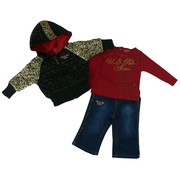 Adorable Infant Girls Leopard Print Jacket Set by U.S. Polo Assn. - Quilted Jacket has Leopard Print Sleeves on Black Jacket and Zip Front and Stretch Waist, Red L/S Shirt with Fuzzy Spots and Snaps at Back, Denim Jeans with Four Pockets and Leopard Piping Down Sides.  Too Cute!  Available in Sizes 12, 18 and 24 Months