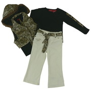 Girls Clothes by U.S. Polo Assn. - Cute Toddler Girl Leopard Vest Set with Stretch Black Sides, Zip-Off Hood, Black Long Sleeved Shirt with U.S. Polo Screen and Cream Corduroy Pants with Silky Leopard Belt.  So Cute!  Available in Sizes 2T, 3T and 4T