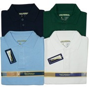 Boys Uniform Long Sleeve Polo Shirts by Universal Uniform in Sizes 4-14 with Ribbed Collar and Cuffs, Three Buttoned Front, Side Vents.  Available in Hunter Green, Light Blue, Navy Blue and White in Sizes 4, 5, 6, 7, 8, 10, 12, 14