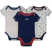 Cute Set of 3 Baby Boy Creepers/Onesies with Baseball Theme. Batter Up! by Vitamins Baby  Available in Sizes 3, 6 and 9 Months