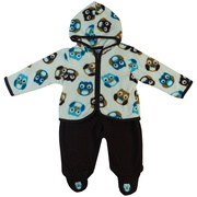 This is an adorable two-piece set that includes an Owl printed hoodie made of velvety soft fleece together with brown pull-on footed pants  with Owl appliques.  So cute!  Available in sizes Newborn, 3, 6 and 9 months by Vitamins