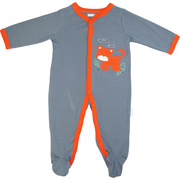 This is a cute coverall in grey with an extensive orange tiger cub applique and orange trim.  So sweet!  Available in sizes Newborn, 3, 6, and 9 Months by Vitamins