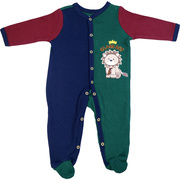 Cute baby boy coverall in school colors with extensive lion applique and Class Act embroidery.  Available in sizes Newborn, 3, 6, and 9 months by Vitamins