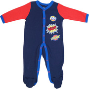 Fun Super Hero coverall with extensive WOW applique and screen print sayings. Could be used as a Halloween costume!  Available in sizes Newborn, 3, 6 and 9 Months