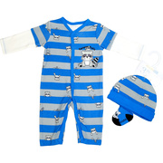 This adorable coverall set is printed with cute raccoons, has fooler long sleeves and one large raccoon applique on chest as well as a raccoon face on the socks. Hat included!  Available in sizes Newborn, 3, 6, and 9 months by Vitamins
