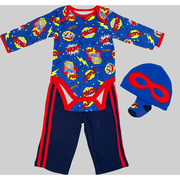 This is an adorable 4 piece creeper set with a superhero onesie, hat with mask, socks and long pants in superhero colors!  Too cute.  Great for Halloween!  Available in Sizes 3, 6 and 9 months by Vitamins