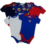 Cute 5 pack of boy onesies with two superhero themed and three solid colored bodysuits to go with any outfit!  Available in sizes 3, 6 and 9 months by Vitamins
