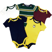 This is a 5 pack of boy onesies in school colors. One is embroidered with Class Act, one striped and three solid colored bodysuits.  Will look great with khaki pants!  Available in sizes 3, 6, and 9 months by Vitamins