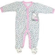 Who can resist this cute footed coverall in grey and pink leopard spots and an appliqued kitty taking a Cat Nap?!  So sweet!  Available in sizes 3, 6, and 9 Months by Vitamins