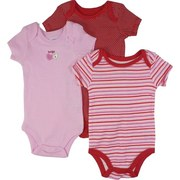 Sweet Set of 3 Baby Girl Creepers/Onesies in Stripe, Polka Dot and Solid Patterns. Cute Heart Applique!  by Vitamins Baby  Available in Sizes 3, 6 and 9 Months
