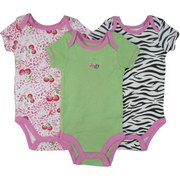 Sweet Set of 3 Baby Girl Creepers/Onesies in Leopard, Cheetah and Solid Patterns. Adorable!  by Vitamins Baby  Available in Sizes 3, 6 and 9 Months