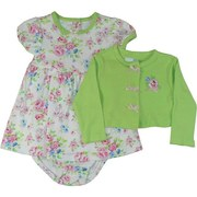 Sweet 3 Piece Baby Girl Dress Set with Flower Print Dress and Matching Panty and a Cute Shrug Sweater in Lime Green with Flower Appliques and Tiny Bows by Vitamins Baby. Darling!  Available in Sizes 3, 6 and 9 Months (See Matching Sister Set in Infant Girl)