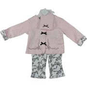 Sweet 3 Piece Baby Girl Layette Set with Pink and Black Polka Dot Jacket with Ribbon Embroidery and Black Bows, Polka Dot Hat with Black Bow and Cute White Pants with Black, Lacy Ribbon Pattern that Matches Turn-up Cuffs on Jacket.  Too Cute!  Available in NB, 3, 6 and 9 Months.  Great for a Take-Me-Home Outfit!  by Vitamins Baby