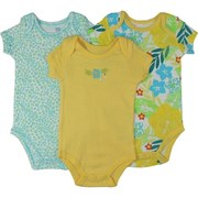 Bright Set of 3 Baby Girl Creepers in Tropical, Cheetah and Solid Patterns. So Adorable!  by Vitamins Baby  Available in Sizes 3, 6 and 9 Months