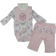 4 Piece Baby Girl Creeper Set In Vintage Floral Print with Dainty Floral Onesie with Tucks and Bow on Long Sleeves, Darling Reversible Bib with Embroidery, a Pair of Mary Jane Socks with Bow and Pull-on Pants with Floral Ruffle Butt. So Sweet! by Vitamins Baby  Available in Sizes 3, 6, and 9 Months
