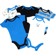This is a 5 pack of boy onesies with a raccoon theme on three and two solid colored bodysuits.  Very cute!  Available in sizes 3, 6 and 9 months.  Makes a great baby gift!  by Vitamins