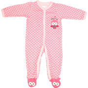 Sweet baby girl coverall in pink on pink with snaps, owl applique on chest and feet and Night Owl embroidery.  Available in sizes 3, 6, and 9 months by Vitamins Baby