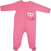 Adorable baby girl footed coverall with owl applique on chest and bird embroidery on feet.  Says whoo