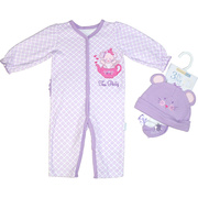 The cutest 3 piece set with lilac coverall with a mouse and teapot applique that says Tea Party below it, a solid lilac hat with a mouse face embroidered on it along with lilac and white socks with bows.  Adorable!  Available in sizes NB, 3, 6 and 9 months by Vitamins Baby