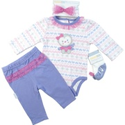 This cute four piece set consists of a snowflake patterned onesie with a penguin applique, lilac pull-on pants with a hot pink ruffle on the bum, a headband that matches the onesie and socks that look like  little Mary Janes with bows.  Sweet!  Available in sizes 3, 6 and 9 months by Vitamins