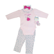 This fun baby girl creeper set has a long sleeved creeper with an appliqued kitty and Wild at Heart embroidery, the pull-on pants are in leopard print and have a ruffled bum, the headband is in the same pattern with a hot pink bow, the pink and cream Mary Jane socks have pink bows and grey leopard spots.  So cute!  Available in sizes 3, 6 and 9 Months by Vitamins
