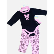 Darling baby girl 4 piece creeper set with a black onesie trimmed in pink with a butterfly and ballet slipper pink applique with tulle bow, damask print headband with bow, pull-on pants with ruffled bum and pink and black socks that look like shoes.  So cute!  Available in sizes 3, 6, and 9 months by Vitamins Baby