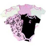 Pick a 5 pack of onesies in damask, polka dot and solid colors.  Makes a great baby shower gift!  Available in Sizes 3, 6, and 9 Months by Vitamins Baby