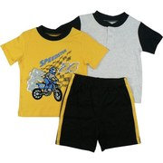 Sharp Infant Boy Short Set with One Fuzzy Motocross T-Shirt in Yellow, One Tee in Grey with Black Neckline and Sleeves and Pull-On Shorts in Black with Yellow Stripes Down the Sides. Available in Sizes 12, 18 and 24 Months (larger sizes in Toddler Boy) by Vitamins Kids