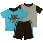 "3 piece Toddler Boy Short Set with Cowboy Theme Includes One T-Shirt with Cowboy Boots Screen, One Tee in Oatmeal with Brown Collar and Sleeves and a Pair of Pull-on Brown Shorts with Turquoise Stripes Down Sides by Vitamins Kids.  ""Outlaw"" Available in Sizes 2T, 3T and 4T (smaller sizes in Infant Boy)"