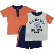 Cool Toddler Boy Short Set with One Fuzzy Varsity T-Shirt in Grey with Navy Neckline and Orange Sleeves, One Orange Tee with Navy Trim and Pull-On Shorts in Navy Blue with Orange Stripes Down the Sides. Available in Sizes 2T, 3T and 4T (smaller sizes in Infant Boy) by Vitamins Kids