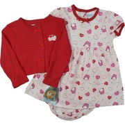 Cute 3 Piece Infant Girl Dress Set with Dress in Owl and Hearts Pattern with Matching Panty and Red Shrug Sweater with Heart Applique by Vitamins Kids.  Sweet!  Available in Sizes 12, 18 and 24 Months (See Matching Sister Dress in Baby Girl)
