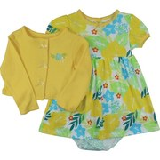 Adorable 3 Piece Infant Girl Dress Set with Tropical Flower Print Dress, Leopard Spotted Panty and Bright Yellow Shrug Sweater with Flower Applique and Tiny Bows at Snaps. Cute, Cute, Cute!  by Vitamins Kids.  Available in Sizes 12, 18 and 24 Months (See Matching Onesies in Baby Girl)
