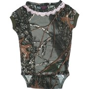 Baby & Infant Girl Clothing - Adorable Baby Girl Camouflage Onesie in Forest Pattern with Pink Doily Trim.  Snaps at Neck and Legs. So Feminine!  Available in Sizes 3-6, 6-12 and 12-18 Months.  by World Famous Sports.  Search Camo to find more items