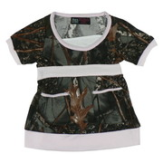 Toddler Girl Clothes - Cute Toddler Girl Camouflage Dress in Forest Pattern with Pink Neckline, Cuffs and Hem. It has Two Front Pockets and Pink Ties at Back.  Will Look Darling with Tights or Leggings!  Available in Sizes 2T, 3T and 4T  by World Famous Sports.  Search Camo to see other items!