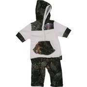 Infant Girl Clothes, This Cute Infant Girl Camouflage Legging Set in Forest Pattern has a Pink Top with Camo Hood and Kangaroo Pocket and Matching Camo Leggings.  So Cute!  Available in Sizes 3-6, 6-12 and 12-18 Months. by World Famous Sports.  Search Camo to see other items!