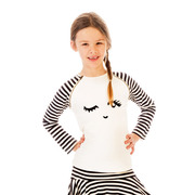 This fun (wink) top can be worn with leggings, skirts or both; it